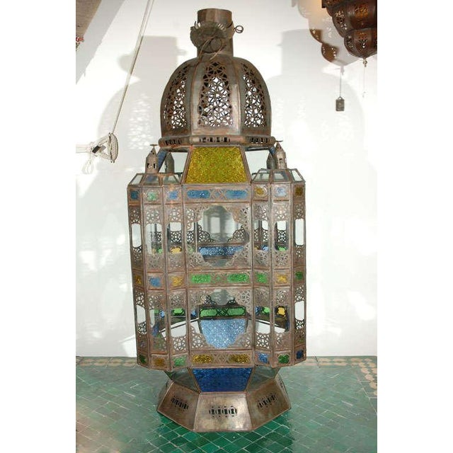 Vintage Moorish Glass Lantern From Marrakech For Sale - Image 10 of 10