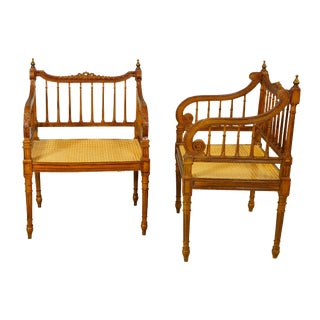 Circa 1900 Italian Walnut With Cane Seats and Removable Cushions Pair of Empire Style Benches For Sale