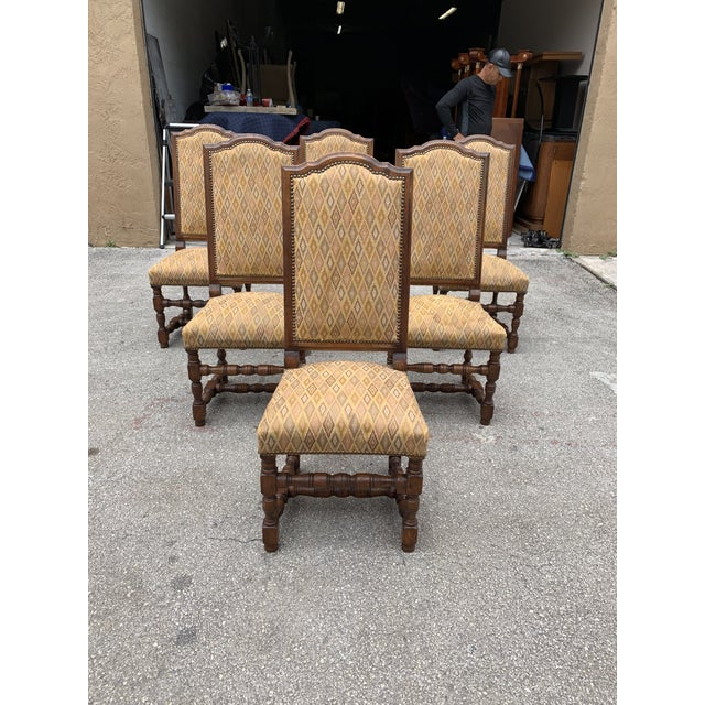 Wood 1900s French Louis XIII Style Solid Walnut Dining Chairs - Set of 6 For Sale - Image 7 of 13