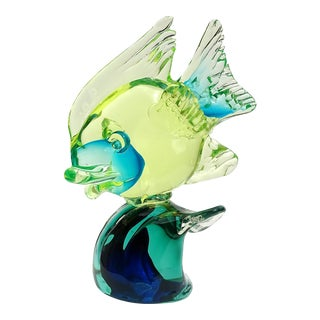 Cenedese Murano Uranium Green Blue Italian Art Glass Mid Century Fish on Wave Sculpture For Sale