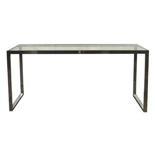 Milo Baughman Chrome Console Table - Image 1 of 7