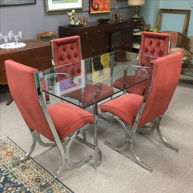 Vintage Mid-Century Chrome & Glass Dining Set - Image 3 of 5