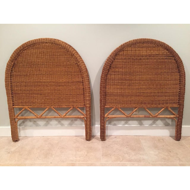 Brown 1960s Boho Chic Twin Wicker Rattan Headboards - a Pair For Sale - Image 8 of 8
