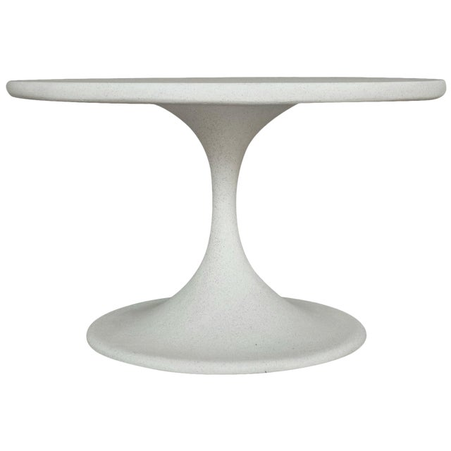 Cast Resin 'Spindle' Side Table, White Stone Finish by Zachary A. Design For Sale