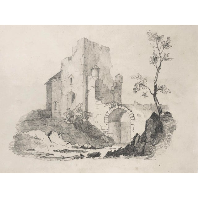 Realism Antique 19th Century English Graphite Landscape Drawing With Castle C.1850 For Sale - Image 3 of 6