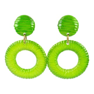 Oversized Lucite Clip on Earrings Apple Green Donut Hoop With Texture For Sale