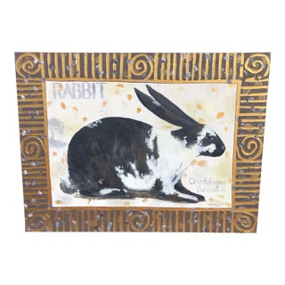Late 20th Century Vintage Folk Art Rabbit Acrylic on Canvas Painting by Carol Korpi McKinley For Sale