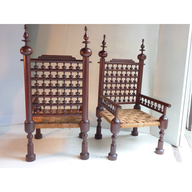 Indian Turned Rosewood Chairs - A Pair - Image 3 of 4