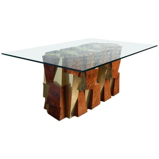 Paul Evans Faceted Cityscape Brass and Wood Dining Table For Sale