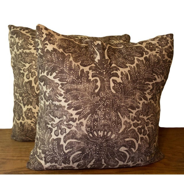 """Offered are a pair of custom designer Ralph Lauren Home linen pillows in the pattern """"Antibes Batik"""" in the color..."""