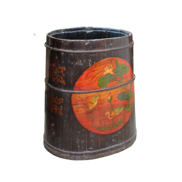 Distressed Chinese Tibetan Barrel Shape Black Floral Bucket Wood Container For Sale - Image 4 of 8