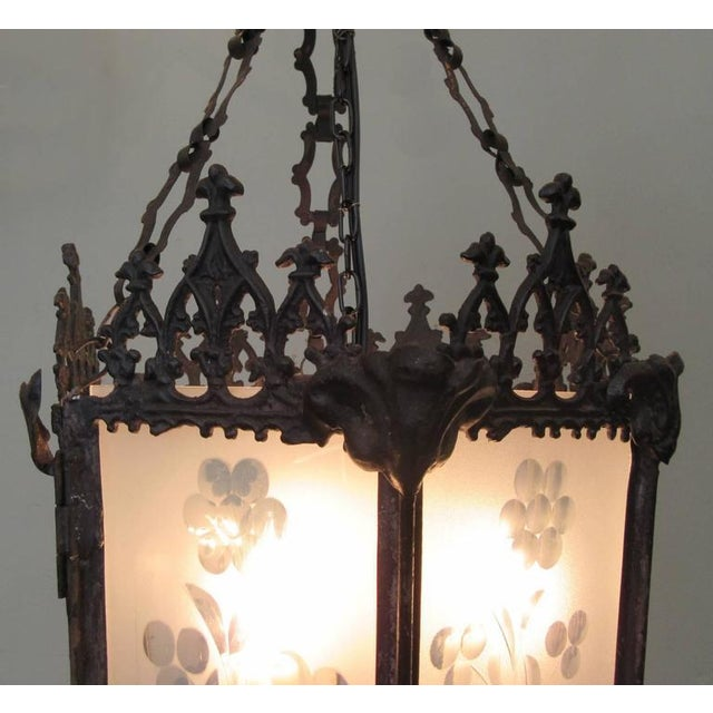 Gothic Mid-19th Century New Orleans Gothic Ebonized Brass Lantern For Sale - Image 3 of 7