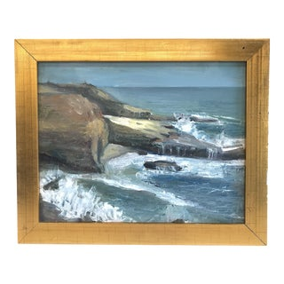 Vintage Ocean Abstract Expressionism Oil Painting