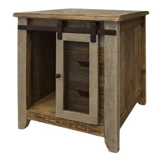 Crafters and Weavers Bayshore Sliding Door / 3 Drawer End Table For Sale