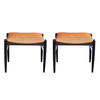 A Classic Pair of Danish Modern 1960's Deep-Brown Lacquered Benches/Stools