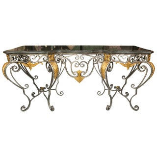 Monumental Iron Console With Gilt Decoration For Sale