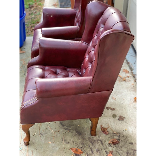 Traditional 1990s Vintage Faux Leather Burgundy Chairs- A Pair For Sale - Image 3 of 8