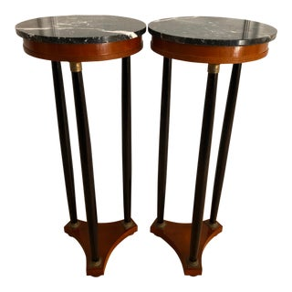Vintage Decorative Crafts Italian Neoclassical Style Marble Top Pedestals - A Pair For Sale
