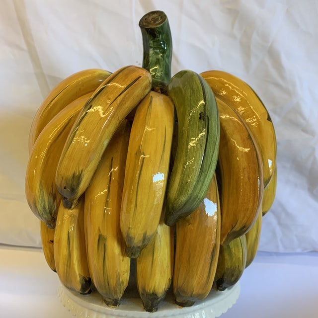 1970s Italian Ceramic Banana Bunch Compote For Sale - Image 5 of 10