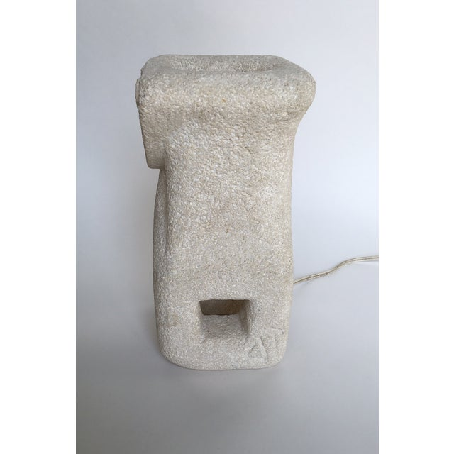 White Albert Tormos Vintage Sculptural Stone Table Lamp For Sale - Image 8 of 11