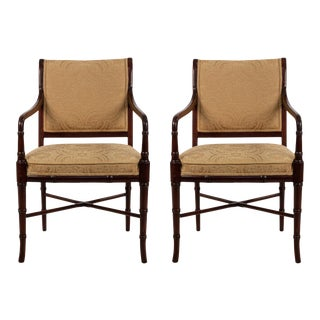 Set of 6 Regency Style Mahogany Arm Chairs With Yellow Damask Upholstery For Sale