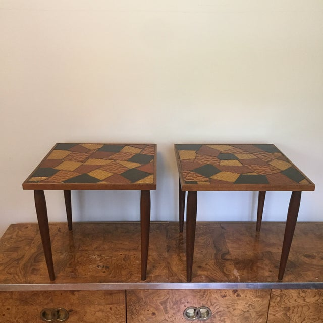 Mid-Century Modern Pair of Mosaic Glass Top Side Tables by Jon Matin For Sale - Image 3 of 10