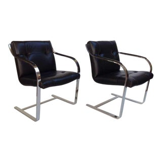Pair of Polished Stainless Steel and Leather Chairs by Brueton For Sale