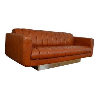 Davis Furniture Modernist Leather and Chrome Sofa
