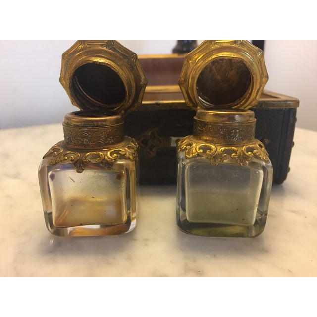 Continental Perfume Shagreen, Mother of Pearl Miniture Trunk With Gilt Filigree Crystal Bottles - 3 Pieces For Sale - Image 12 of 13