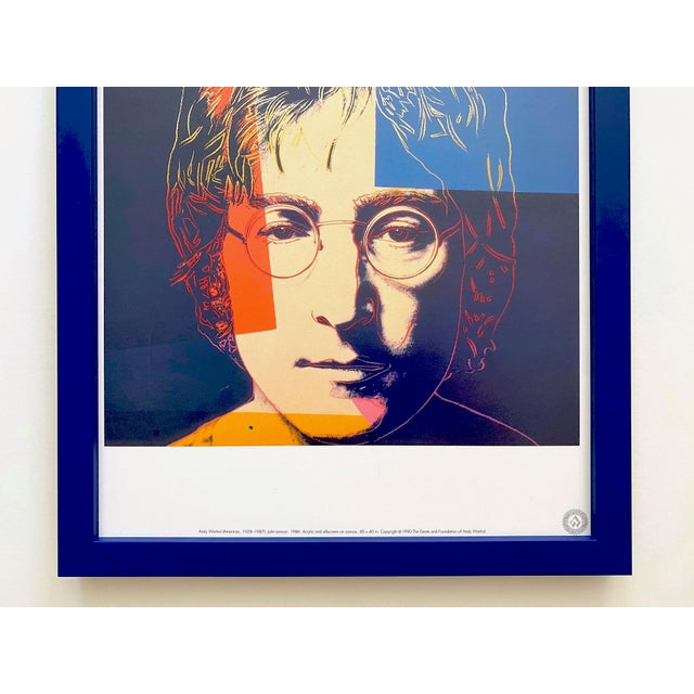 "Contemporary Andy Warhol Estate Vintage 1990 Framed Pop Art Lithograph Print "" John Lennon "" 1986 For Sale - Image 3 of 13"