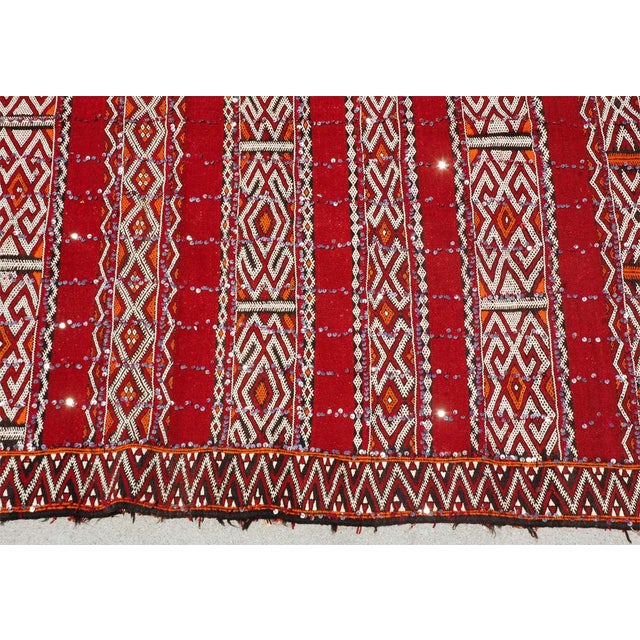 Rare Moroccan Bohemian style rug, handwoven by women for their wedding day. This vintage Tribal rug comes from the Zemmour...