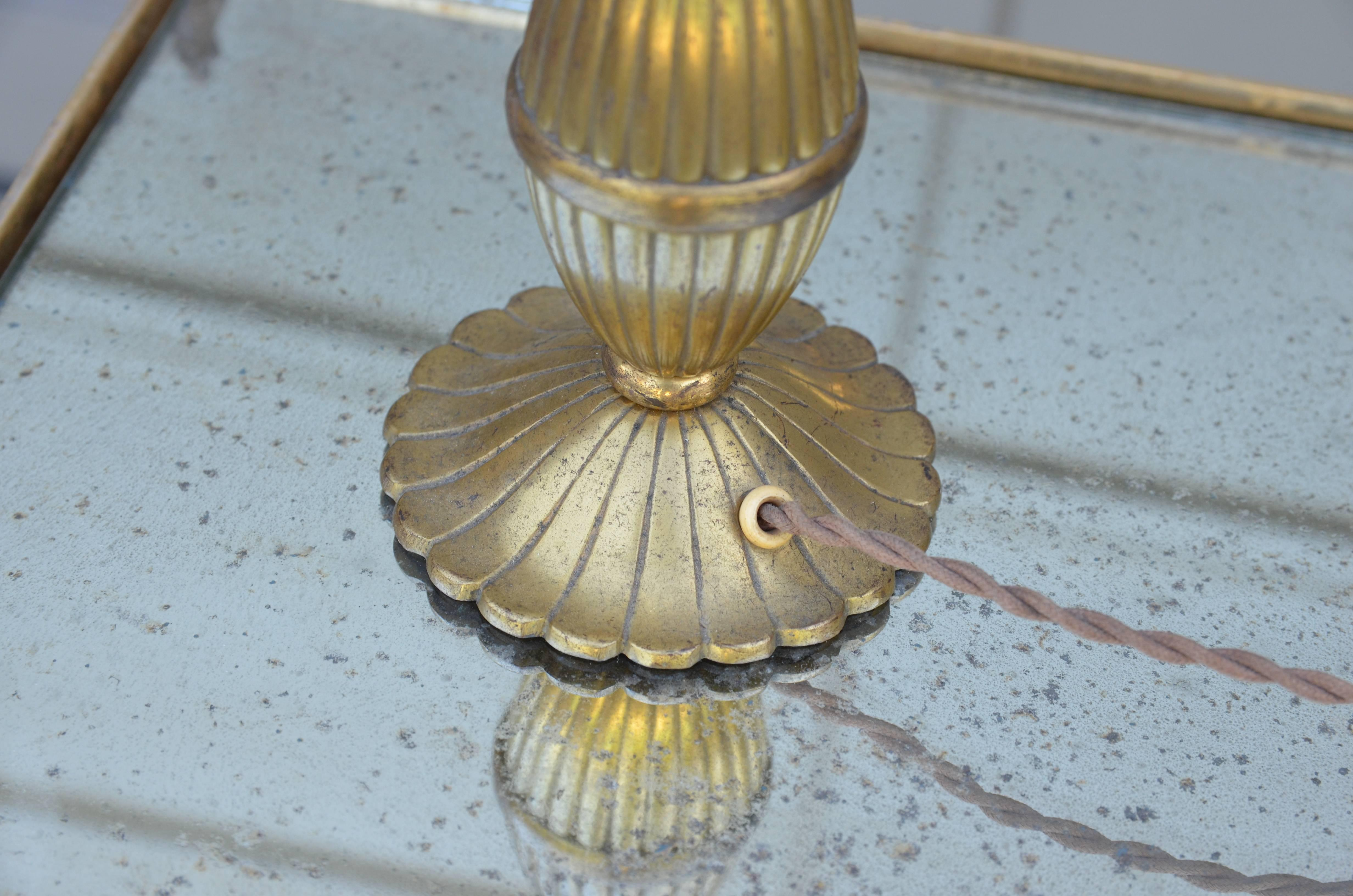 Incredible 1930s Sue Et Mare Inspired Small Gilt Bronze Table Lamp
