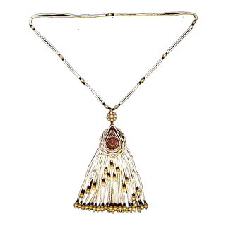 Exquisite Amethyst Crystal Sterling Pendant Glass Seed Pearl Necklace For Sale