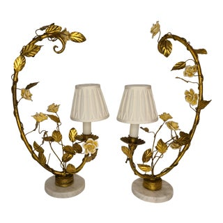 Gold Gild Italian Candlebras With Porcelian Flowers With Shades For Sale