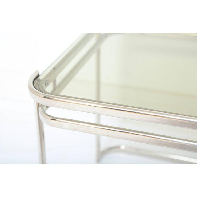 Pair of Italian Mid-Century Modern Chrome Side Tables For Sale - Image 11 of 12