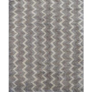 Mansour Modern Handwoven Mohair Zig Zag Rug For Sale