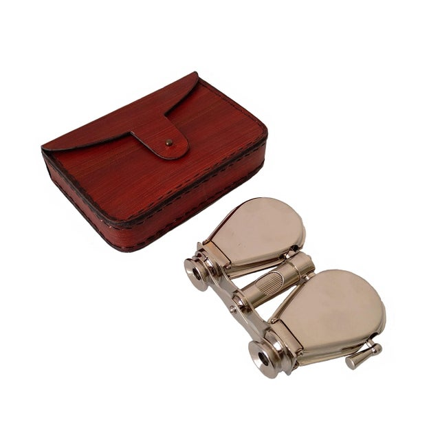 Vintage Nickel Plated Brass Folding Binoculars with Leather Case For Sale - Image 4 of 6