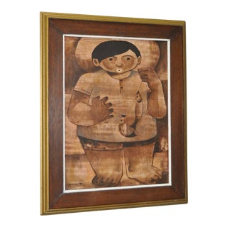 "Mid Modern Oil Painting ""The Fisherman"" by Paco Gorospe C.1970 For Sale"