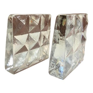 Glass Ice Cube Bookends by Blenko For Sale