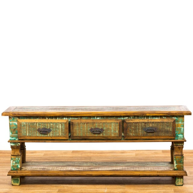 Americana Reclaimed Wood Console Table For Sale - Image 3 of 8