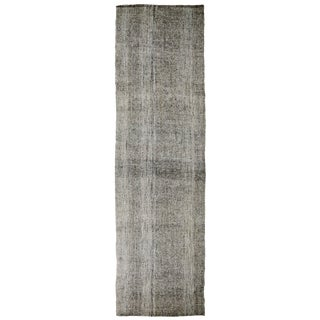 Vintage Turkish Silver Gray Wool Kilim Runner - 3′7″ × 13′ For Sale