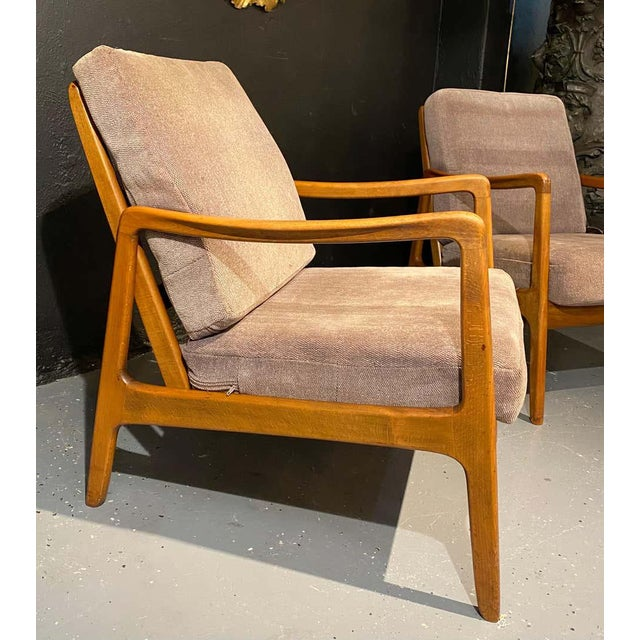 Light Pink France and Daverkosen Teak Armchairs, Mid-Century Modern For Sale - Image 8 of 13