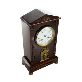 19th Century French Mahogany Clock For Sale