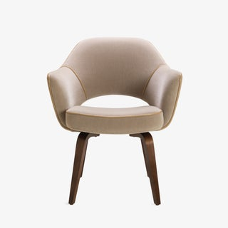 Saarinen Executive Arm Chair with Walnut Legs in Mohair and Leather Piping Preview