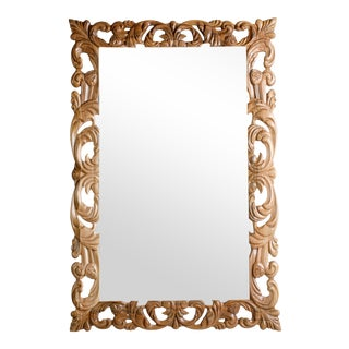 Contemporary Hand Carved Walnut Mirror For Sale