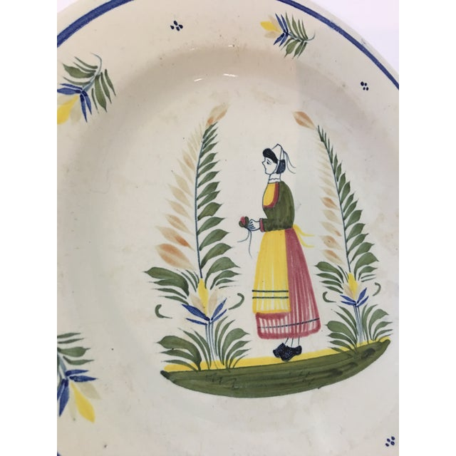1940s French Henriot Quimper Porcelain Plate For Sale - Image 4 of 8