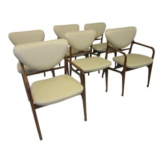 Sculptural Mid Century Wood Framed Upholstered Dining Chairs - Set of 6 For Sale