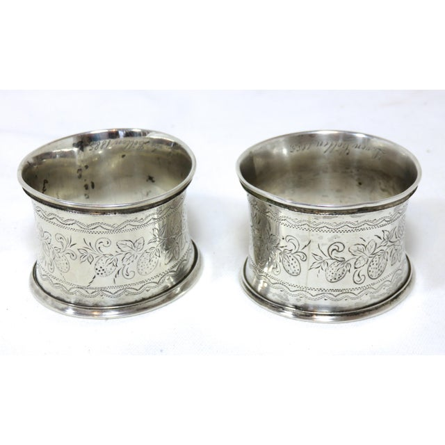 Large Antique Victorian Coin Silver Wedding Napkin Rings For Sale - Image 4 of 7