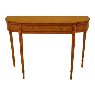 1990s Vintage Maitland-Smith Inlaid Satinwood Console Table For Sale