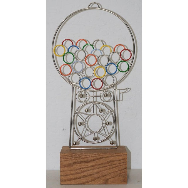 Blue Joseph A. Burlini Kinetic Gumball Machine Sculpture C.1970s For Sale - Image 8 of 8